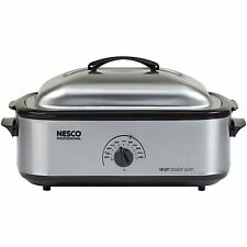 Nesco 4818-25PR Slow Cooker Roaster Oven 18-Quart, Porcelain Cookwell, Stainless