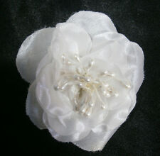 KLEINFELD WEDDING FLOWER WHITE SILK DECORATION GOWN OR HAIR ACCESSORY PEARLS