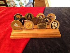 CHALLENGE COIN HOLDER / DISPLAY NEW 12 COIN SOLID OAK