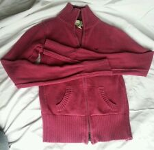 Hollister small zipp up and down sweater pink wine ribbing pockets mock neck