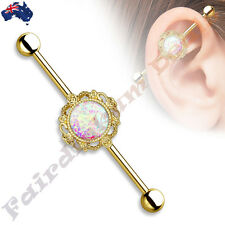 316L Surgical Steel Gold Ion Plated Industrial Barbell with Opal Filigree Center