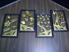 Vintage Wrought Iron Pictures Symbol of Four Season Happiness  Orig box 11 x 7