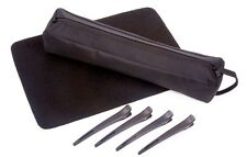 HAIR STRAIGHTENERS GIFT SET INC Black HEATPROOF BAG, Heat proof MAT & CLIPS