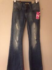NWT YMI LIGHT WASH CURVY FIT BOOT CUT RIPPED/TORN LOOK JEANS SZ 3 L32