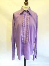 Vintage 1970s Rocola púrpura volantes frontal Dress Shirt 15.5 pecho Collar 40
