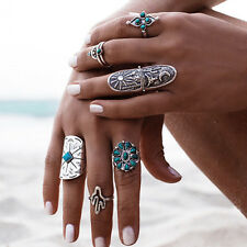 Retro Silver Turquoise Bohemian Ring Set Vintage Steampunk Cross Flowers Ring