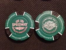 "Harley Davidson Poker Chip (Green & Black) ""Speedway"" Concord NC. HOME OF NASCAR"