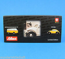 Schuco Piccolo H0 Set VW Käfer & T2 Bus PTT Post Schweiz Limited OVP HO 1:87 Box