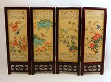 Vintage Oriental Asian 4 Panel Wood Folding Screen Hand Painted on Silk 2 Sided