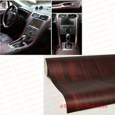 0.6M X 1.2M Autos Car Wood Grain Texture Decorative Sticker Vinyl Wrap Teak Red