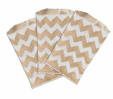 "50 -3x5"" Mini Natural Kraft & White Chevron -Flat Paper Treat Bags"