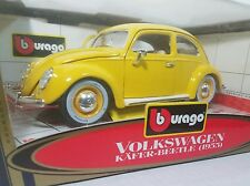 bBurago Burago 1955 VW Volkswagen Beetle Kafer Coupe YELLOW RARE 1/18 NEW!