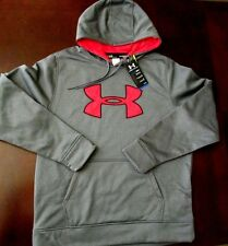New UNDER ARMOUR Medium Mens Gray w Red Logo Loose Fit Pullover Hoodie NWT