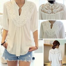 Women/Lady White Loose Casual Lace Splicing Crochet Flower Tops Blouses -LJ