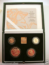2000 GOLD PROOF FOUR COIN SET £5 £2 SOVEREIGN 1/2 HALF SOVEREIGN