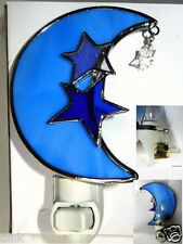 Stained Glass Blue Moon with Stars Night Light