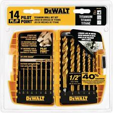 DEWALT Titanium Pilot Point Drill Bits Bit Set Speed Metal Index Coated 14-Piece