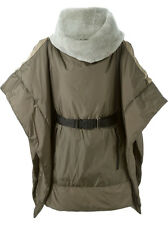 NWT KHAKI OVERSIZED CAPE REAL FUR COLLAR BY HACHE SIZE 42 US 8 MADE IN ITALY