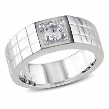 Miadora Sterling Silver Created White Sapphire Men's Ring