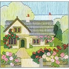 Derwentwater Designs Rambling Rose Cottage Silken Long Stitch Kit