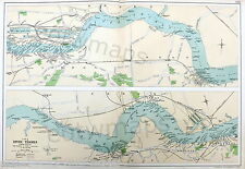 THE PORT OF LONDON , 1924 - Vintage Map, The RIVER THAMES - WOOLWICH to TILSBURY