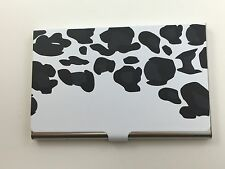 Business Card Carrying Case - Stainless Steel - Leopard - Black / White