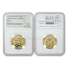 Jamaica 1975FM(P) Christopher Columbus $100 Gold NGC MS67