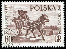Scott # 1019 - 1961 - ' Mail Cart ', Polish Postal Museum 40th Anniv Stamp Day