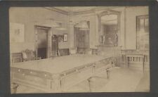 ORIGINAL VINTAGE PHOTOGRAPH OF THE BILLIARD ROOM IN A LARGE HOUSE
