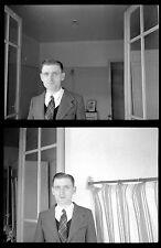 portrait homme intérieur veste cravate - Ancien négatif photo an 1930