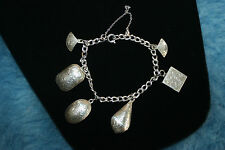 SAM VINTAGE STERLING SILVER  CHARM BRACELET WITH 6 CHARMS