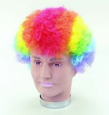 Multi Colour Curly Afro Fancy Dress Funky Wig Disco Clown Mens Ladies Costume
