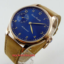 44mm parnis blue dial golden case 6497 movement hand winding mens watch P451