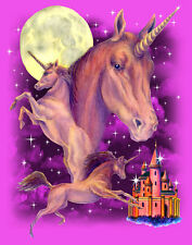 "Mystical Unicorn Horse & Castle Pink / Purpl Fleece Blanket 50"" X 60"" Warm Throw"
