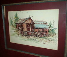 Distressed BARN Painting FOLK ART Signed American Impressionist Country Landscap