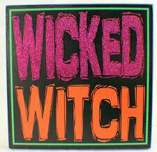 Wicked Witch Glitter Embellished Halloween Holiday Table Decor Sign Plaque