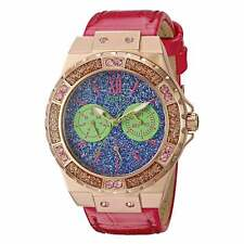 Guess U0775L4 Women's Blue Dial Pink Leather Strap Crystal Watch