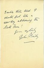 Signed Note of Paper British John Bailey Crtic & Writer