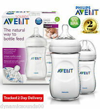 2 x Philips AVENT 260ml 9oz Baby Feeding Bottle Natural Range SCF693/27