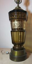 HUGE antique cut crystal Czechoslovakian Moser vase amber glass table lamp light