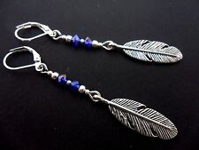 A PAIR TIBETAN SILVER LONG DANGLY  FEATHER THEMED LEVERBACK HOOK EARRINGS. NEW.