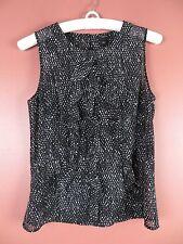 TB03858- ANN TAYLOR Woman Polyester See Thru Blouse Ruffle Trim Black White Sz 4