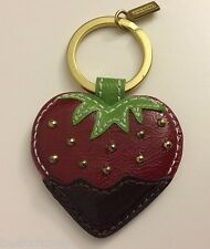 NWT Coach 92832  Chocolate Dipped Strawberry Leather Charm Keychain Key Fob Red