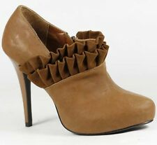 Brown Faux Leather Ruffle High Heel Fashion Ankle Boot 9 us Qupid Persist-35