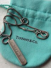 """Tiffany & Co. Sterling Silver 1837 Bar Pendant Necklace Snake Chain 18"""""""