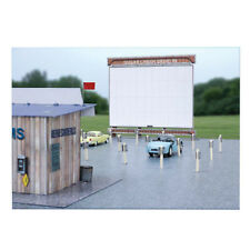 "1:87 HO Train Scale ""Drive In Theatre"" Photo Real Architecture Building Kit Set"