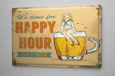 Tin Sign Beer Nostalgic Happy hour