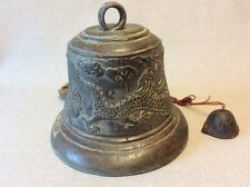 Cloche bronze de monastère Asie du sud décor de dragon et tortue chine china