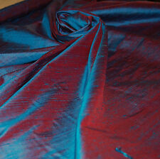 100% Natural Silk Dupioni Fabric Blue Red Violet Iridescent *5 YARDS* Super Sale