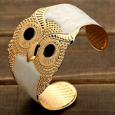 Cute Black Eyes Golden Owl Shape Cuff Bangle Succinct White Bracelet Party Gift